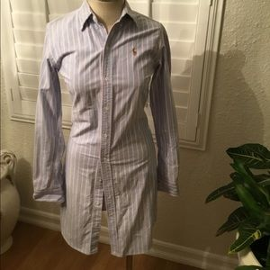 Ralph Lauren Blue and Pink striped shirt dress
